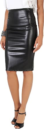 Krisp 9018-BLK-20: Zip Back High Waist PU Skirt Black