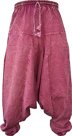 Gheri Dusky Aladdin Stonewashed Drop Crotch Harem Trousers Maroon Small Medium