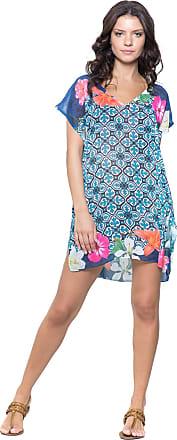 101 Resort Wear Blusa 101 Resort Wear Tunica Saida de Praia Decote V Crepe Fenda Lateral Estampada (M)