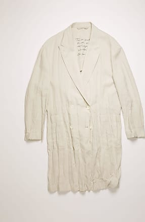 Acne Studios FN-WN-OUTW000249 White melange Double-breasted linen coat