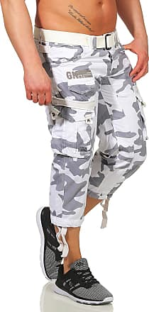 Geographical Norway Mens 3/4 Cargo Trousers Panoramic Bermuda with Belt, Large Side Pockets - White - M