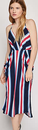BCBGeneration Bold Stripe Surplice Midi Dress