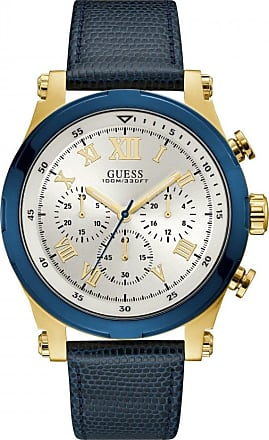 Acotis Limited Guess Watches Guess Gents Gold Chrono Watch Blue Trim Leather Strap W1