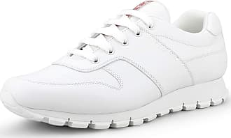 Prada Mens Match Racer Calfskin Leather Low Top Trainer Sneakers, Bianco (White) 4E3363 Blue Size: 11