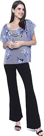 101 Resort Wear Blusa Crepe Estampada Listrada Folhas Azul (M)
