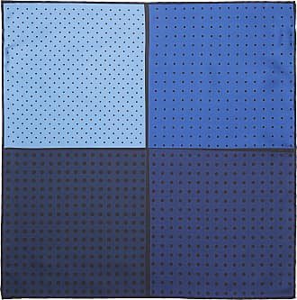 Lanvin Polka-Dot 4 Multi Blue Colour-Block Silk-Twill Pocket Square Hanky
