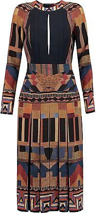 Etro Etro Woman Open-back Pleated Printed Silk Dress Brown Size 44