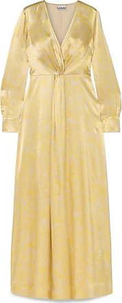 918f36ed02b8 Ganni Knotted Floral-print Satin Maxi Dress - Yellow
