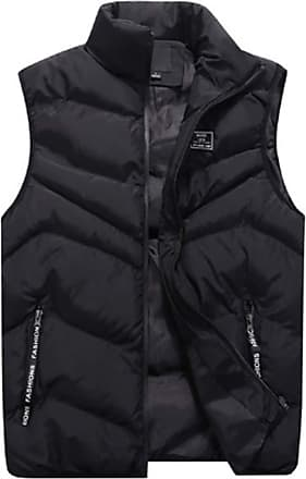 Inlefen Mens Leisure Down Cotton Coat Sleeveless Keep Warm Slim Fit Padded Packable Vest Jacket with Pockets(Black/2XL)