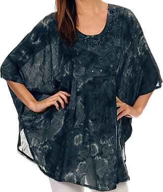 Sakkas 16031 - Cleeo Long Wide Tie Dye Lace Embroidered Sequin Poncho Blouse Top Cover Up - Ink Blue - OS