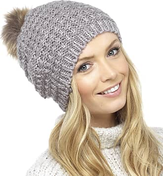 Foxbury Ladies Knitted Slouch Beanie Bobble Hat with Faux Fur Pom Pom One Size Lilac