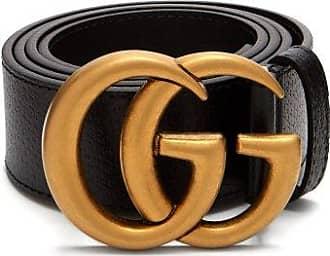 Gucci GG Textured-leather Belt - Mens - Black