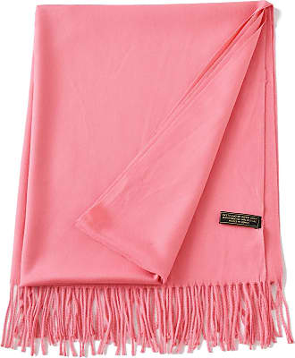 CJ Apparel Coral Pink Thick Solid Colour Design Cotton Blend Shawl Scarf Wrap Stole Throw Pashmina CJ Apparel NEW