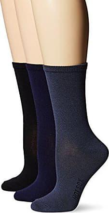 Hot Sox Womens 3 Pack Originals Classics Crew Socks, Solid (Navy), Shoe Size: 4-10