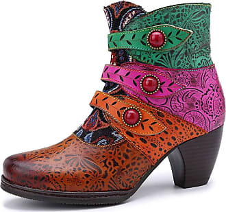 MGM-Joymod Womens Splicing Floral Leather Button Thick Heel Fashion Bohemian Style Side Zipper Ankle Boots (Brown) 6.5 UK