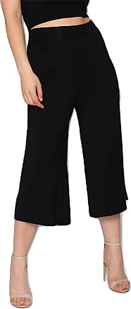 Momo & Ayat Fashions Ladies Jersey High Waist Pleated Culotte Pants Trousers UK Size 8-14 (Black, UK 8 (EUR 36))
