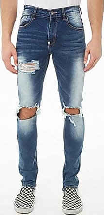 21 Men KDNK Faded Distressed Ankle-Zip Jeans at Forever 21 Blue