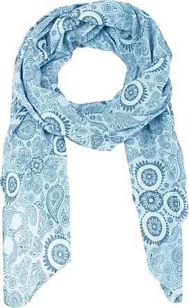 Zwillingsherz Twin Heart Silk Scarf for Women Girls Paisley Elegant Accessory/Cotton/Silk Scarf/Neck Scarf/Shoulder Scarf or Wrap - Blue - One size