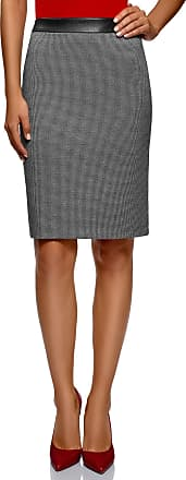oodji Collection Womens Jacquard Skirt with Faux Leather Waistband, Grey, UK 4 / EU 34 / XXS