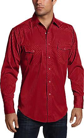 Wrangler Mens Sport Western Snap Shirt Dobby Stripe, Wine, 2X-Large