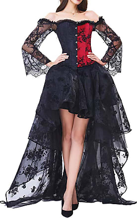 EmilyLe Womens Elegant Steampunk Corsets Jacquard Bustier Tops with High Low Lace Skirt Costume (L, Z Red)