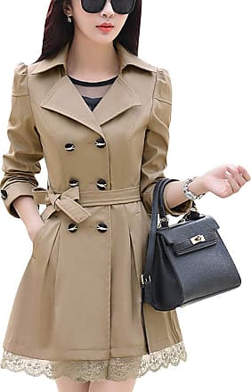Yonglan Womens Slim Fitted Floral Lace Belted Double Breasted Jacket Trench Coat Dark Khaki S