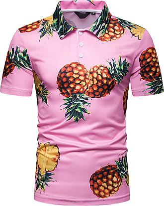 Whatlees Mens Casual Short Sleeve Hawaiian Print Pineapple Golf Polo Shirt Stylish T-Shirt 02010038X16+XXL