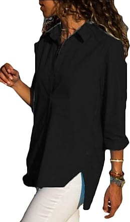 c87dad897189 Security Womens Shirts Basic Long Sleeve Button Down Simple Pullover  Stretch Formal Casual Shirt Black L