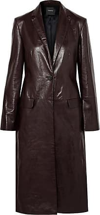Theory Textured-leather Coat - Chocolate