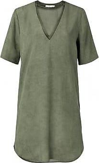 YaYa Dark Olive Lyocell Midi Kleid mit Doppelkragen - 36