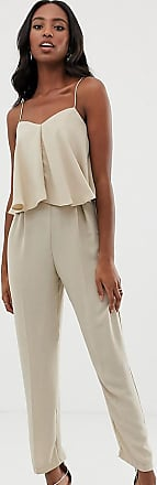Asos Tall ASOS DESIGN Tall double layer cami peg jumpsuit-Beige