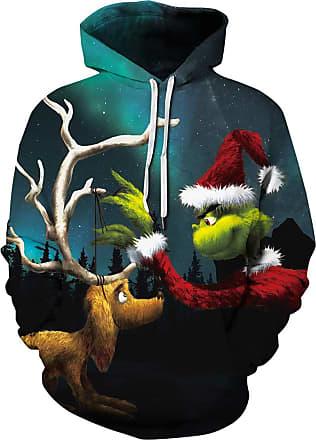EUDOLAH Mens Hoodie Christmas Costume 3D Printed Snowman Reindeer socking Cats Long Sleeve Jumper(UK 14-16 (Tag 2XL),Green 090)