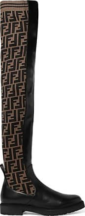 0a15fe3be80 Fendi Logo-jacquard Stretch-knit And Leather Over-the-knee Boots -
