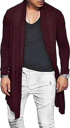 H&E Mens Fashion Open Front Long-Sleeve Draped Cardigans Coat Wine Red Medium