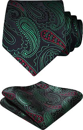 Hisdern Floral Paisley Wedding Tie Handkerchief Mens Necktie & Pocket Square Set (Green & Red)