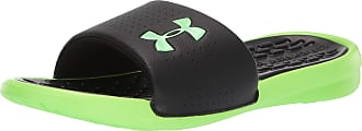 Under Armour Mens Playmaker Fixed Strap Slide Beach & Pool Shoes, Black (Black/Lime Light/Lime Light (004) 004), 11 UK 46 EU