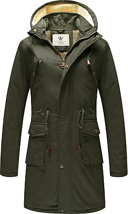 WenVen Womens Mid-Length Winter Cotton Jacket Hooded Coat Army Green Small