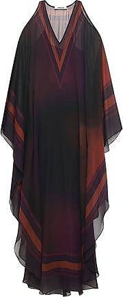 5b5831310b7 Roberto Cavalli Roberto Cavalli Woman Cold-shoulder Draped Printed Silk-georgette  Maxi Dress Burgundy