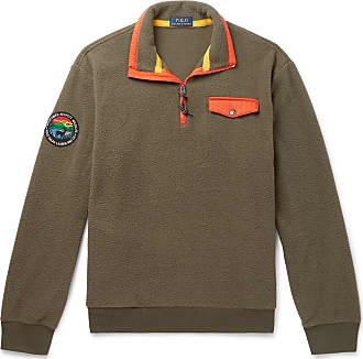 Polo Ralph Lauren Contrast-trimmed Fleece Half-zip Sweatshirt - Green