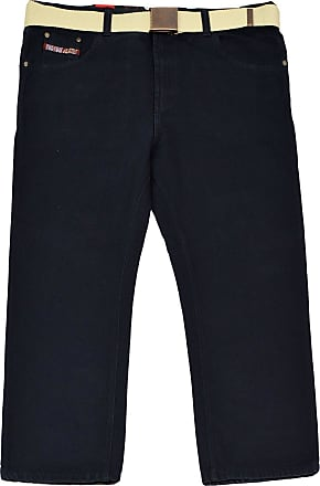 Boston Mens Denim Jeans Plain Coloured With Free Belt Inside Leg 30 Inches Big Sizes Waist 42 to 56 (L-30 W-46, Black)