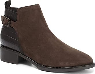 Jones Bootmaker Casual Flat Croc Panel Leather Ankle Boot 316 594 - Brown Suede Size 4 (37)