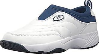 Propét Propet Womens Wash N Wear Slip On Ll Walking Shoe, SR White Navy, 7 4E US