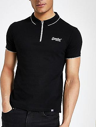 49de4222eb0 Superdry Mens Superdry Black half zip polo shirt