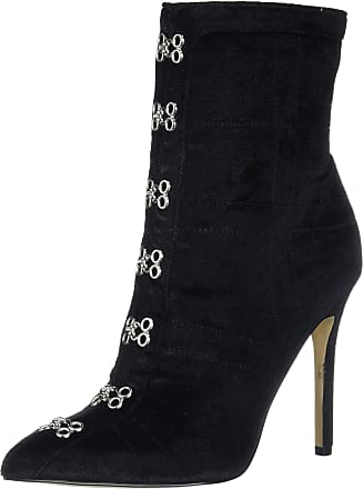 Katy Perry Womens All Over Velvet Bootie with Pointy Toe Size: 6.5 Black