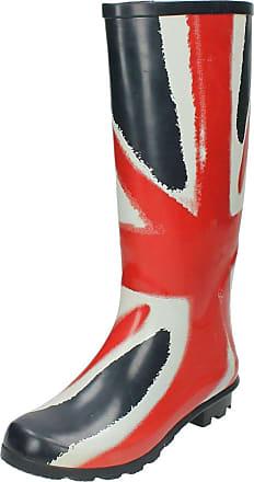 Spot On Ladies Union Flag Wellington Boots - Navy/Red Rubber - UK Size 5 - EU Size 38 - US Size 7