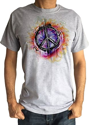 Irony Mens T-Shirt Hipster Peace Sign Military CND Peace Retro Antiwar Hippy TS1236 (Grey, XLarge)