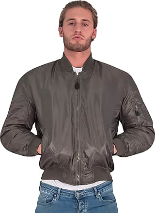 Love my Fashions Aron Mens Ma1 Bomber Zip Long Sleeve Jacket Olive Green
