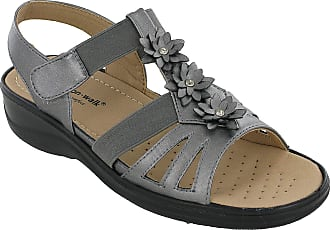 Cushion-Walk Cushion Wal Womens Halterback Wedge Sandals Elasticated Touch Fasten Open Toe UK 3-8 (UK 3 / EU 36, Pewter)