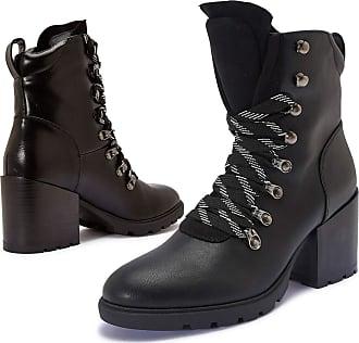 Truffle Womens Girls, Vegan Leather Heel Combat Lace Up Ankle Boots - Black - UK 3