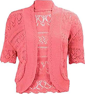 21Fashion Ladies Fancy Crochet Knitted Bolero Shrug Cardigan Womens Short Sleeve Crop Top Coral Medium/Large
